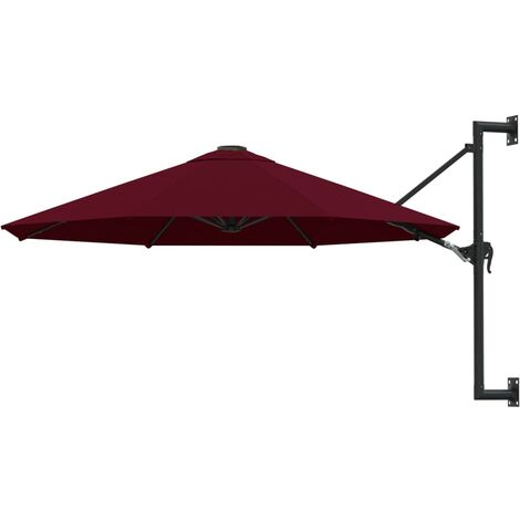 vidaXL Wall-Mounted Parasol with Metal Pole 300 cm Burgundy - Red