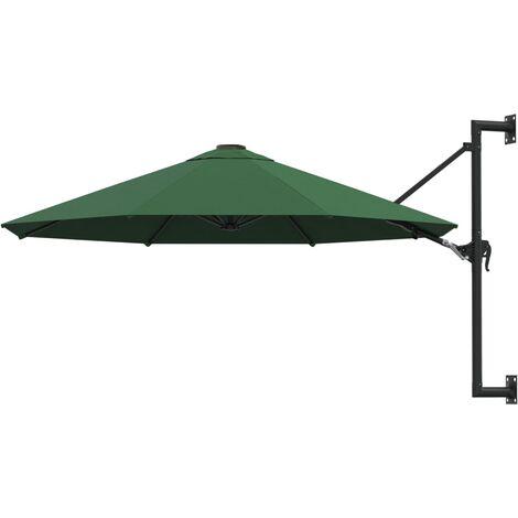 vidaXL Wall-Mounted Parasol with Metal Pole 300 cm Green - Green