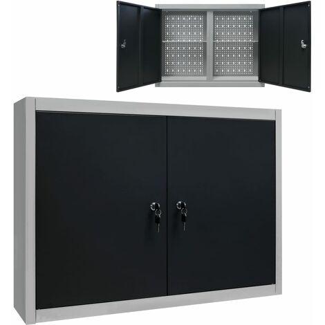vidaXL Wall Mounted Tool Cabinet Industrial Style Metal Grey and Black - Grey