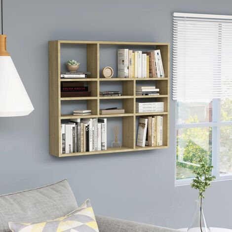 vidaXL Wall Shelf Bedroom Living Room Office Shelving Floating Hanging Wall Mounted Rack CD Display Cabinet Chipboard Multi Colours