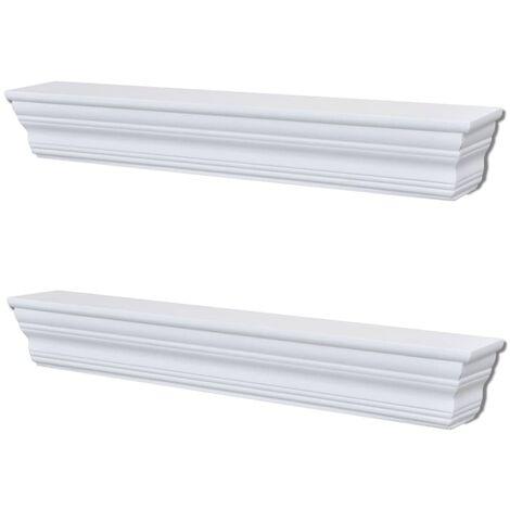 "main image of ""vidaXL Wall Shelves Aaliyah 2 pcs White - White"""