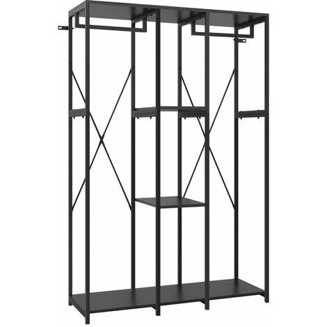 vidaXL Wardrobe Black 110x40x167 cm Metal and Chipboard - Black