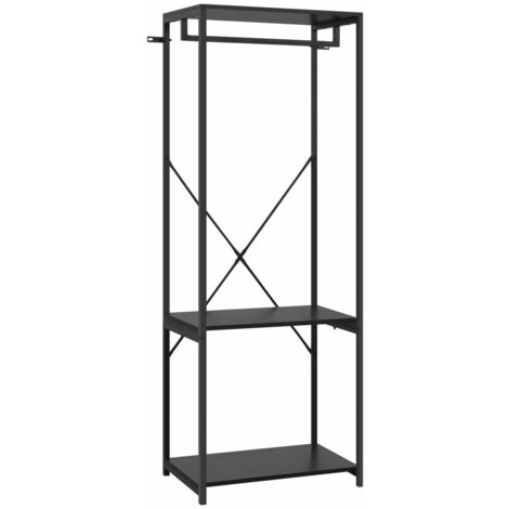 vidaXL Wardrobe Black 60x40x167 cm Metal and Chipboard - Black