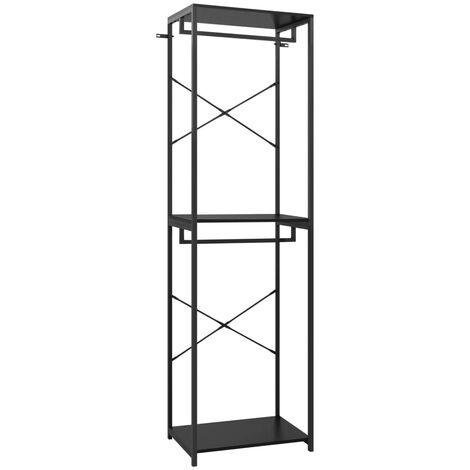 vidaXL Wardrobe Black 60x40x213 cm Metal and Chipboard - Black