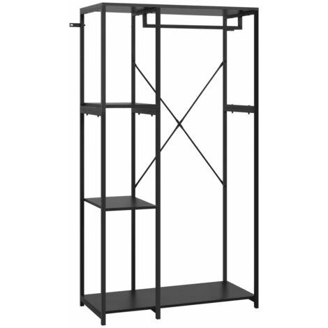vidaXL Wardrobe Black 90x40x167 cm Metal and Chipboard - Black