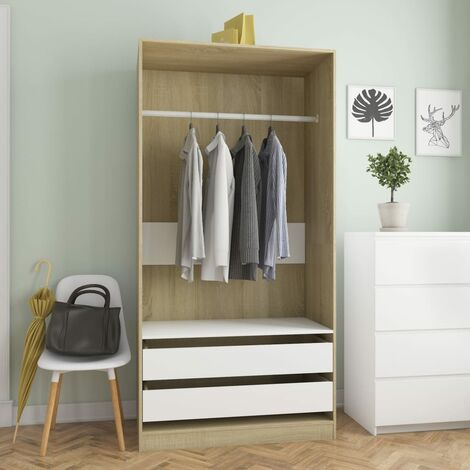 vidaXL Wardrobe Clothing Cabinets Shelves Hangers Open Wardrobes Home Units Storage Closet Living Room Furniture 100x50x200cm Chipboard Multi Colours