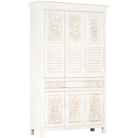 "main image of ""vidaXL Wardrobe White 120x40x200 cm Solid Mango Wood - White"""