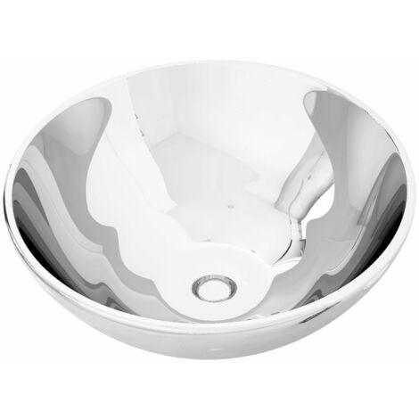 vidaXL Wash Basin 32.5x14 cm Ceramic Silver - Silver
