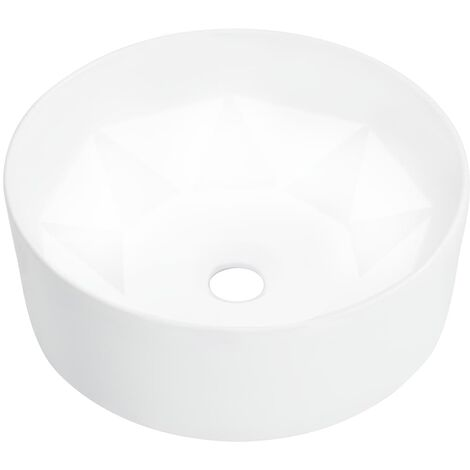 vidaXL Wash Basin 36x14cm Ceramic Bathroom Washroom Wash Bowl Sink Black/White