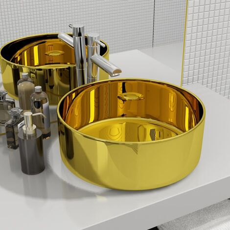 vidaXL Wash Basin 40x15 cm Ceramic Gold - Gold