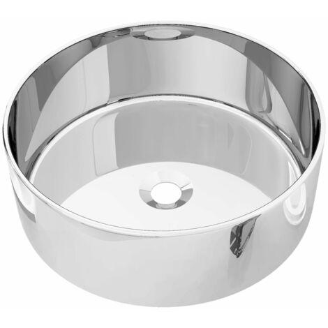 vidaXL Wash Basin 40x15 cm Ceramic Silver - Silver