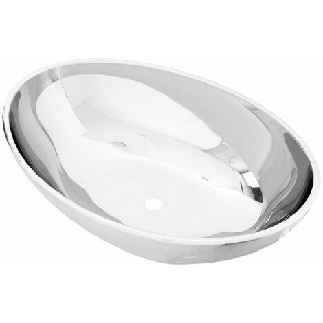 vidaXL Wash Basin 40x33x13.5 cm Ceramic Silver - Silver