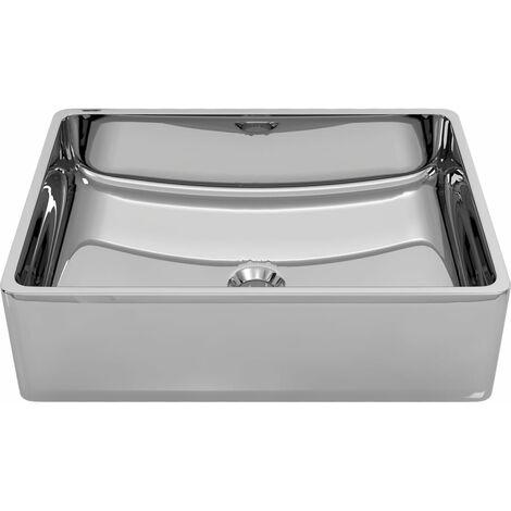 "main image of ""vidaXL Wash Basin 41x30x12 cm Ceramic Silver - Silver"""