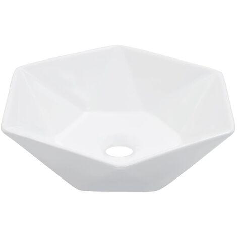 vidaXL Wash Basin 41x36.5x12cm Ceramic Bathroom Washroom Bowl Sink Black/White