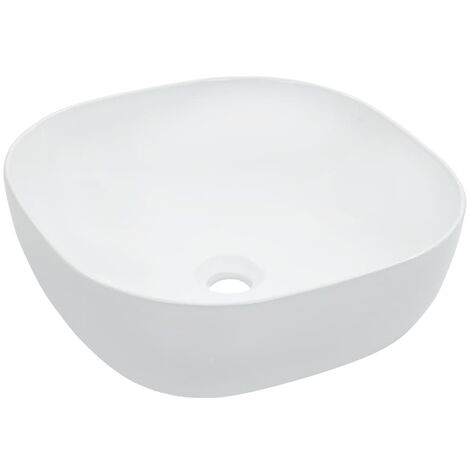 vidaXL Wash Basin 42.5x42.5x14.5cm Ceramic Bathroom Washroom Sink Black/White