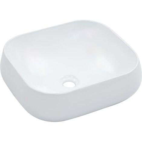 vidaXL Wash Basin 44.5x39.5x14.5 cm Ceramic White - White