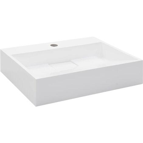 vidaXL Wash Basin 50x38x13 cm Mineral Cast/Marble Cast White - White
