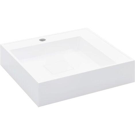 vidaXL Wash Basin 50x50x12.3 cm Mineral Cast/Marble Cast White - White