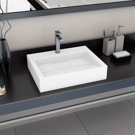"main image of ""vidaXL Wash Basin 60x38x11 cm Mineral Cast/Marble Cast White - White"""