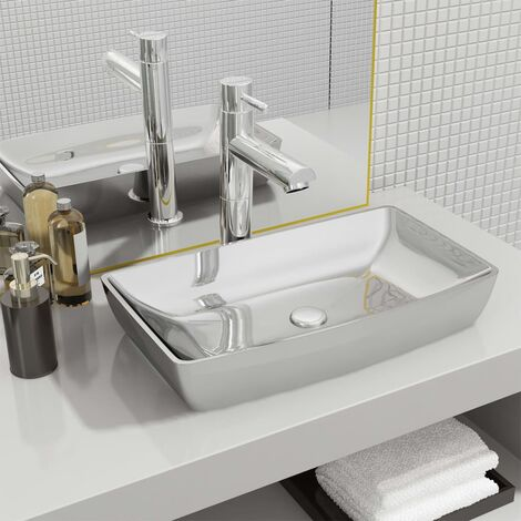 "main image of ""vidaXL Wash Basin 71x38x13,5 cm Ceramic Silver - Silver"""