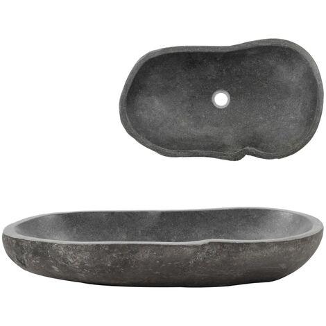 vidaXL Wash Basin River Stone Oval 60-70 cm - Grey
