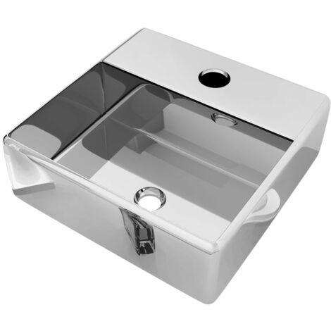 vidaXL Wash Basin with Faucet Hole 38x30x11.5 cm Ceramic Silver - Silver