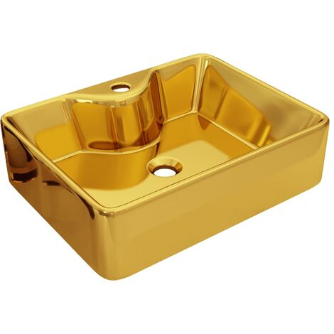 vidaXL Wash Basin with Faucet Hole 48x37x13.5 cm Ceramic Gold - Gold