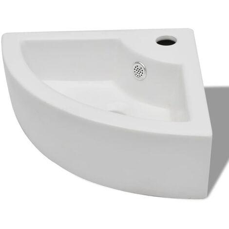 vidaXL Wash Basin with Overflow 45x32x12.5 cm White - White