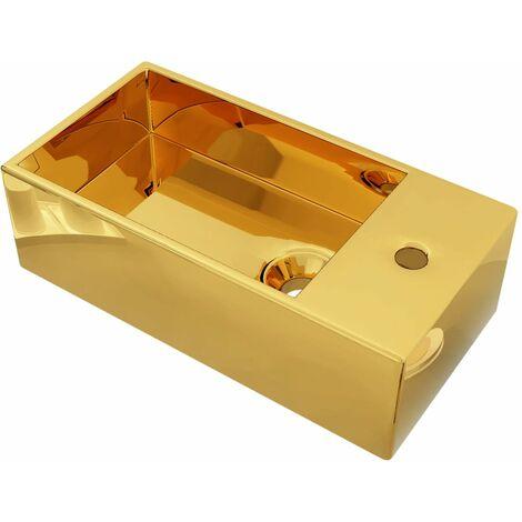 vidaXL Wash Basin with Overflow 49x25x15 cm Ceramic Gold - Gold