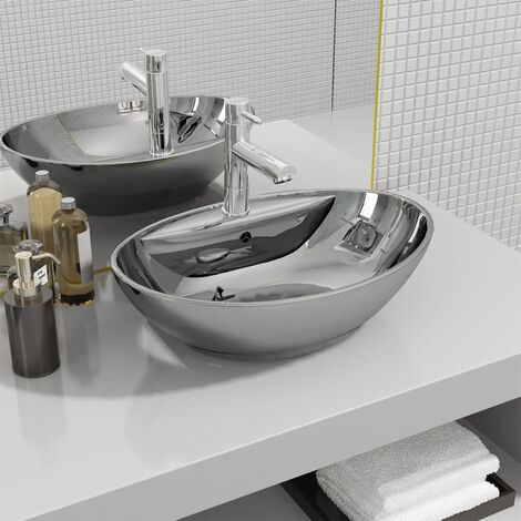 vidaXL Wash Basin with Overflow 58.5x39x21 cm Ceramic Silver - Silver