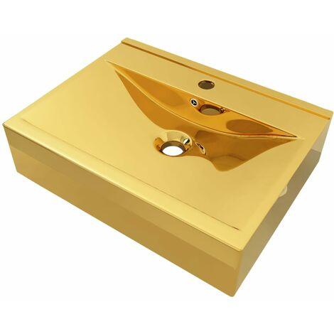 vidaXL Wash Basin with Overflow 60x46x16 cm Ceramic Gold - Gold