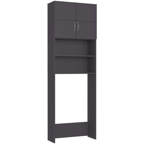 vidaXL Washing Machine Cabinet Grey 64x25.5x190 cm Chipboard - Grey