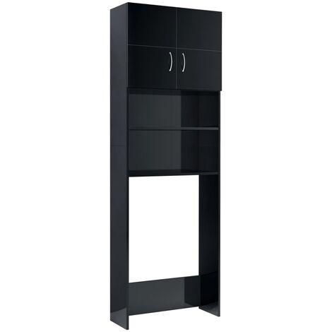 vidaXL Washing Machine Cabinet High Gloss Black 64x25.5x190 cm Chipboard - Black