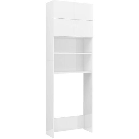 vidaXL Washing Machine Cabinet High Gloss White 64x25.5x190 cm Chipboard - White