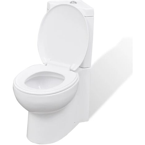 vidaXL WC Ceramic Bathroom Corner Toilet Soft-close Water Saving White/Black
