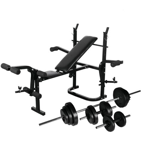 vidaXL Weight Bench with Weight Rack, Barbell and Dumbbell Set 30.5kg - Black