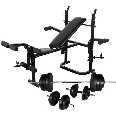 vidaXL Weight Bench with Weight Rack, Barbell and Dumbbell Set 60.5kg - Black