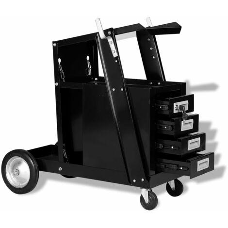 vidaXL Welding Cart with 4 Drawers Black - Black
