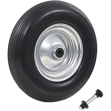 """main image of """"vidaXL Wheelbarrow Wheel with Axle Solid PU 4.00-8 390 mm"""""""