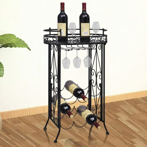 vidaXL Wine Rack with Glass Holder for 9 Bottles Metal - Black