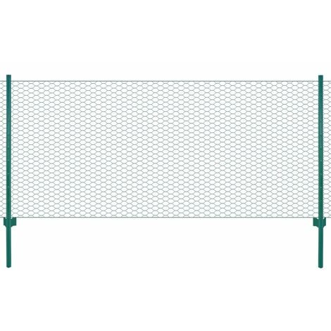 vidaXL Wire Mesh Fence with Posts Steel 25x0.5 m Green - Green