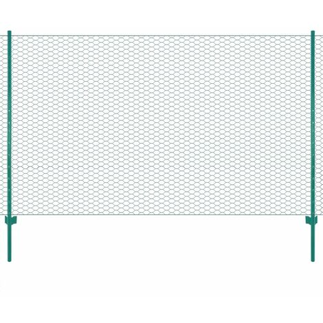 vidaXL Wire Mesh Fence with Posts Steel 25x2 m Green - Green