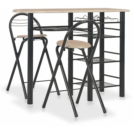 vidaXL Wood Bar Set with Shelves 3 Piece Home Kitchen Dining Room Dinner Table and Stool Chair Seating Bistro Furniture Setting Steel Multi Colours