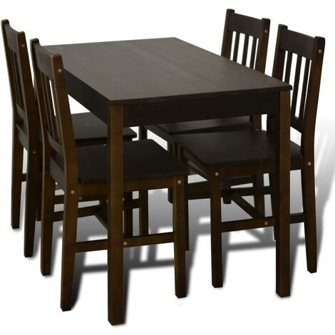 vidaXL Wooden Dining Table with 4 Chairs Durable Stable Wood Home Kitchen Dinner Room Breakfast Table and Chair Furniture Set Multi Colours