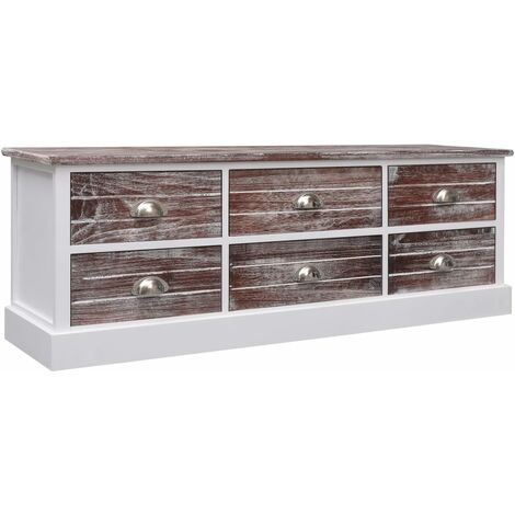 vidaXL Wooden Hall Bench Rustic Charm Includes 6 Drawers with Metal Handles Living Room Media HiFi Drawer Unit Stand Lowboard Sideboard Multi Colours