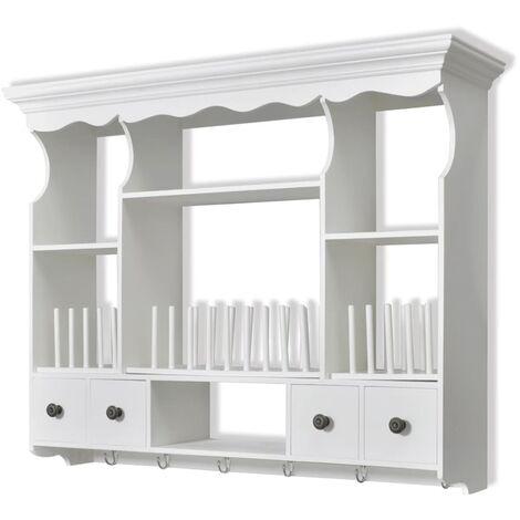 vidaXL Wooden Kitchen Wall Cabinet White - White