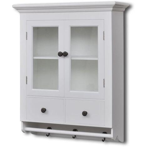 vidaXL Wooden Kitchen Wall Cabinet with Glass Door White - White