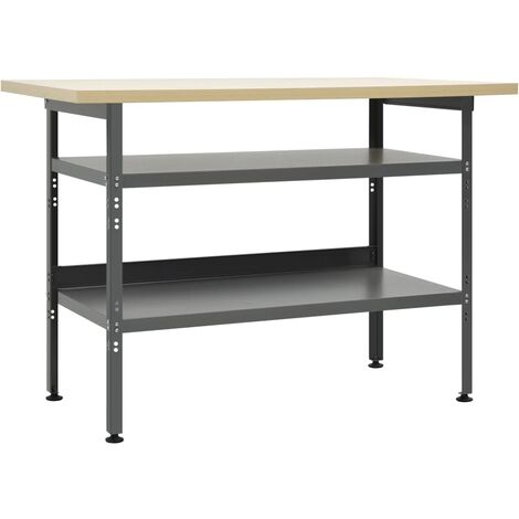 vidaXL Workbench Grey 120x60x85 cm Steel - Grey