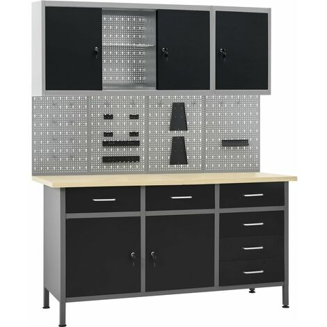 vidaXL Workbench with Four Wall Panels and Two Cabinets - Black
