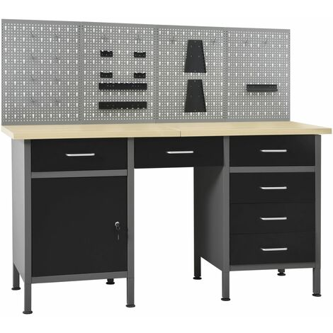 vidaXL Workbench with Four Wall Panels - Black